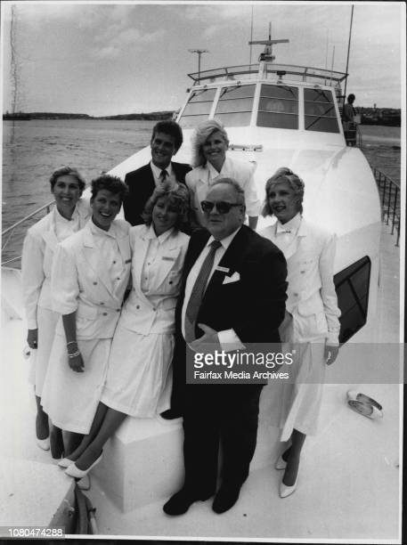 Hayman Island roving ambassadors left to right Liz Roncali Kay Cairns Claudia Cioli with Mr Denis Richard General Manager Ansett hotels and resorts...