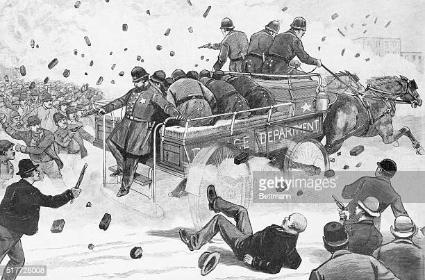 Haymarket Riot The anarchist labour troubles in Chicago Illinois A police patrol wagon attacked by a mob 12000 rioters May 3 1886 Engraving