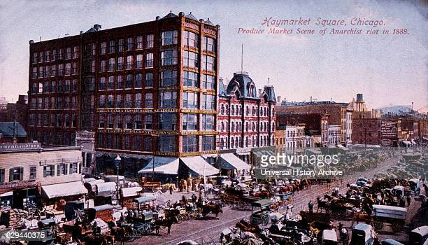 Haymarket Square Produce Market Scene of Anarchist Riot of 1886 Chicago Illinois USA HandColored Postcard circa 1888