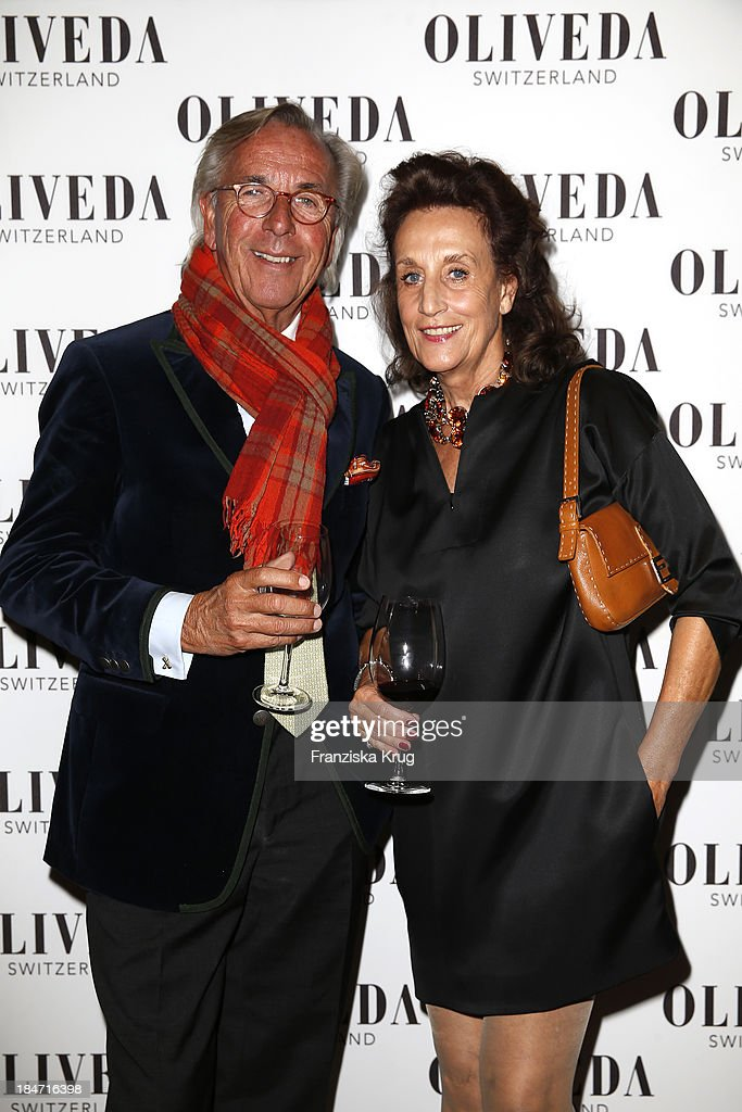 Hayo Willms and Renate von Rehbinder attend the OLIVEDA - Launch Party at Bayerischer Hof on October 15, 2013 in Munich, Germany.