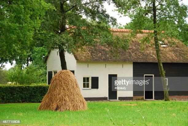 Haystack standing in an idyllic landscape
