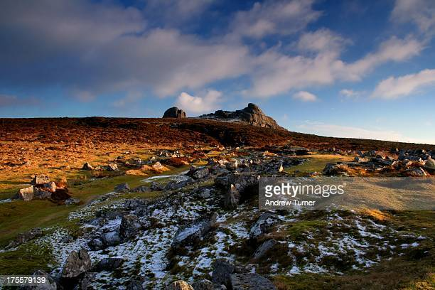 Haytor is one of Dartmoors most famous granite tors, captured while ascending the slippery slopes to the north just before sundown on a January...