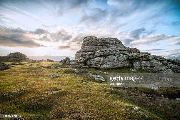 haytor sunset - rock formation stock pictures, royalty-free photos & images