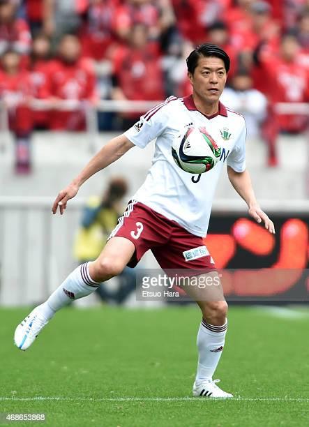 Hayuma Tanaka of Matsumoto Yamaga in action during the JLeague match between Urawa Red Diamonds and Matsumoto Yamaga at Saitama Stadium on April 4...