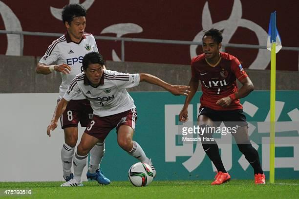 Hayuma Tanaka of Matsumoto Yamaga in action during the JLeague match between Kashima Antlers and Matsumoto Yamaga at Kashima Soccer Stadium on May 30...