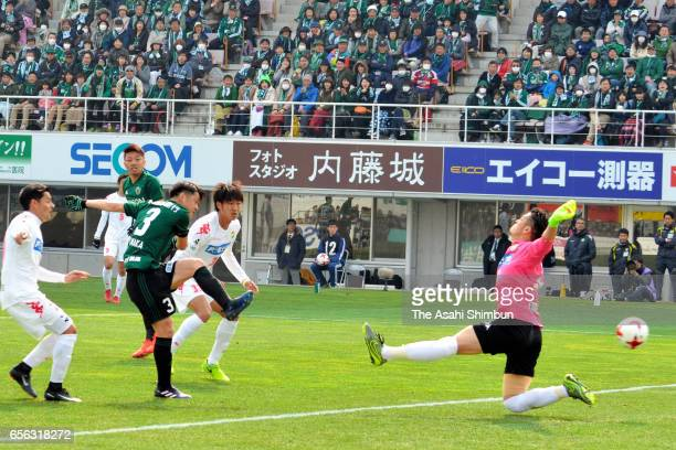 Hayuma Tanaka of Matsumoto Yamaga scores the opening goal during the JLeague J2 match between Renofa Yamaguchi and Tokyo Verdy at Ishin Memorial...