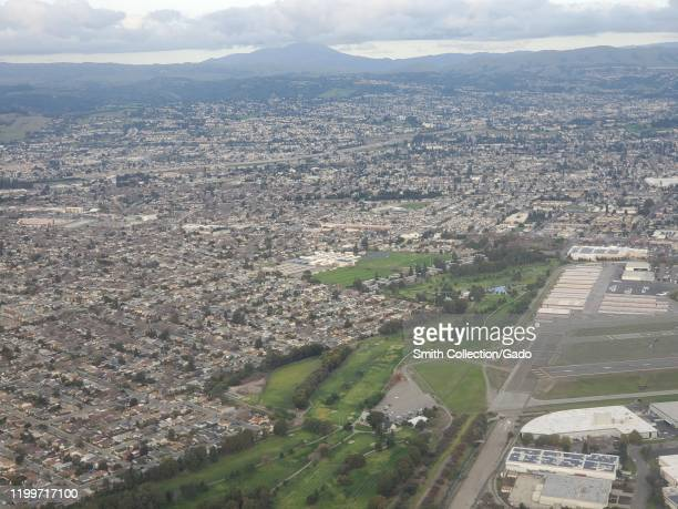Hayward Execute Airport is visible in an aerial view of the East Bay region of the San Francisco Bay area Hayward California January 8 2020