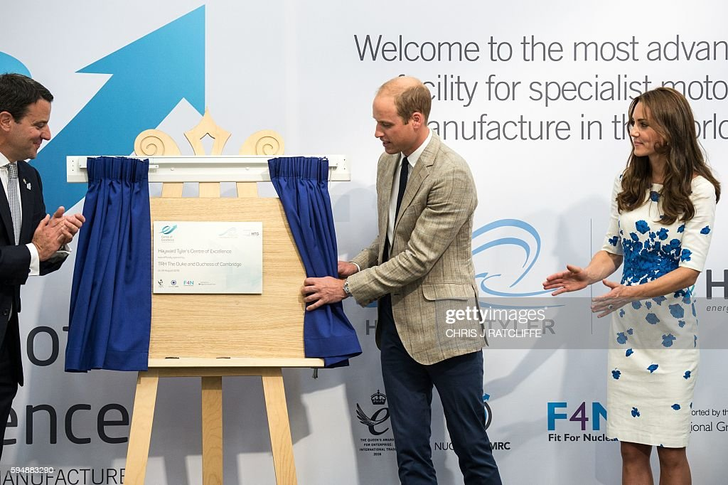 Hayward Tyler CEO Ewan Lloyd-Baker, Britain's Prince William, Duke of Cambridge, and Catherine, Duchess of Cambridge, officially open the Centre of Excellence during their visit to Hayward Tyler in Luton, north of London, on August 24, 2016. Hayward Tyler designs, manufactures, and services fluid-filled electric motors and pumps for high-pressure, high-temperature applications and environments across the global energy sector. / AFP / CHRIS