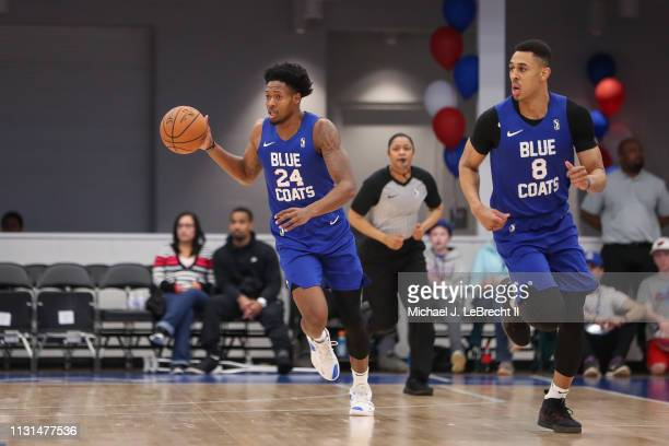 Haywood Highsmith of the Delaware Blue Coats dribbles up court against the Canton Charge during an NBA GLeague game on March 16 2019 at 76ers...