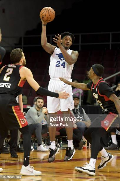 Haywood Highsmith of the Delaware Blue Coats passes the ball during an NBA GLeague game on December 29 2018 at Erie Insurance Arena in Erie PA NOTE...