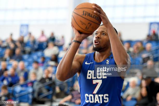 Haywood Highsmith of the Delaware Blue Coats shoots against the Lakeland Magic during the second half at the 76ers Fieldhouse on March 8, 2020 in...