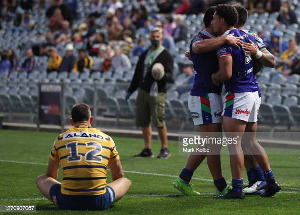 Hayze Perham of the Warriors celebrates after scoring a try during the round 17 NRL match between the New Zealand Warriors and the Parramatta Eels at...