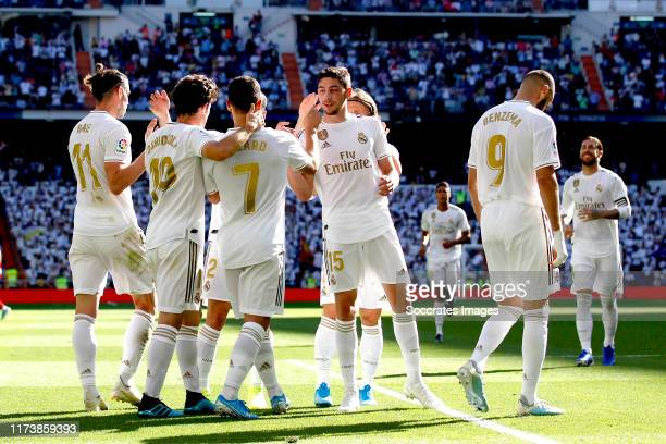 Hazard of Real Madrid Gareth Bale of Real Madrid Alvaro Odriozola of Real Madrid Federico Valverde of Real Madrid Karim Benzema of Real Madrid during...