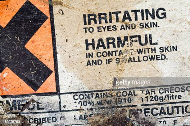 hazard warning label. - toxin stock pictures, royalty-free photos & images