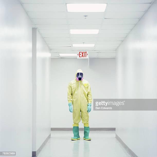 Hazardous technician in sterilized corridor