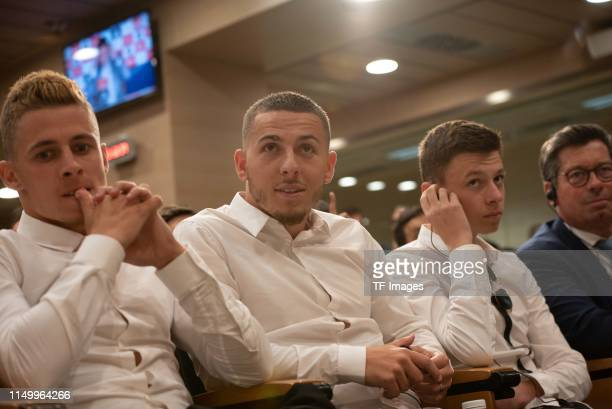 Hazards brothers are seen during the press conference of Real Madrid at Estadio Santiago Bernabeu on June 13 2019 in Madrid Spain