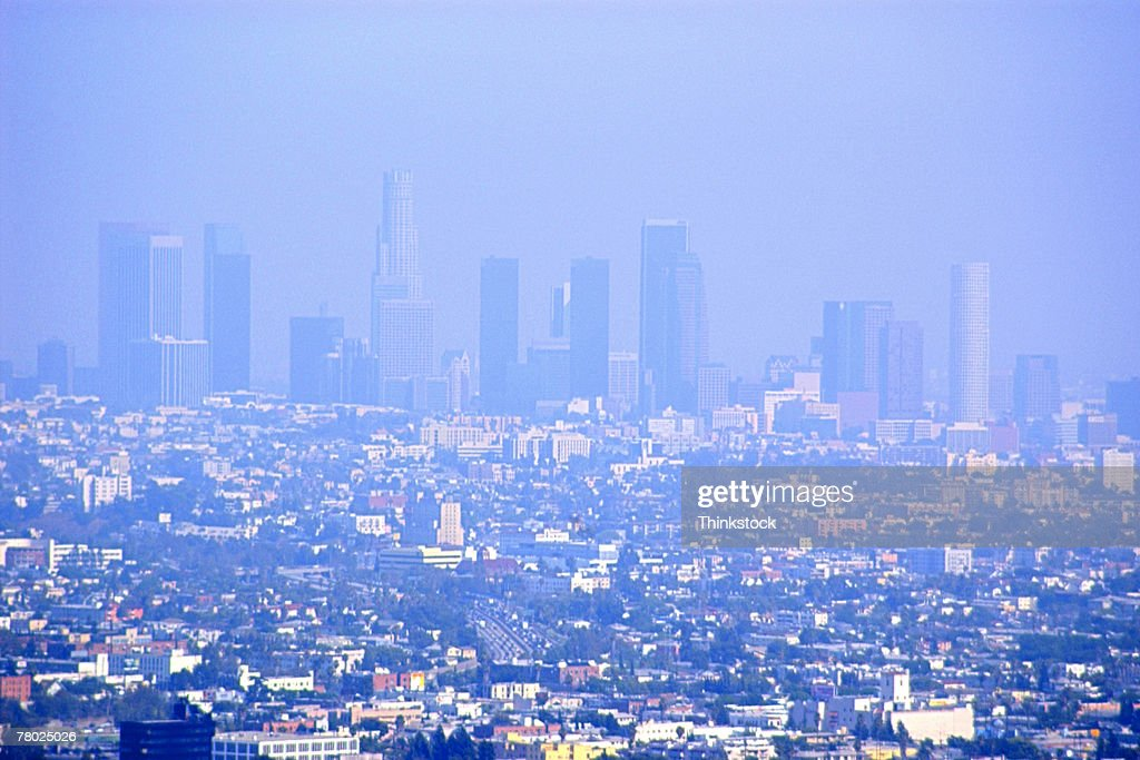 Haze and smog covers the skyline of downtown los angeles ca stock haze and smog covers the skyline of downtown los angeles ca stock photo sciox Gallery