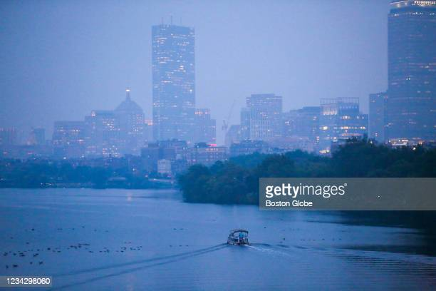 Haze from California wildfires blanketed the Boston area Monday evening on July 26, 2021 in Cambridge.
