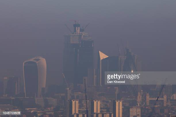 A haze hangs over the city skyline on October 10 2018 in London England