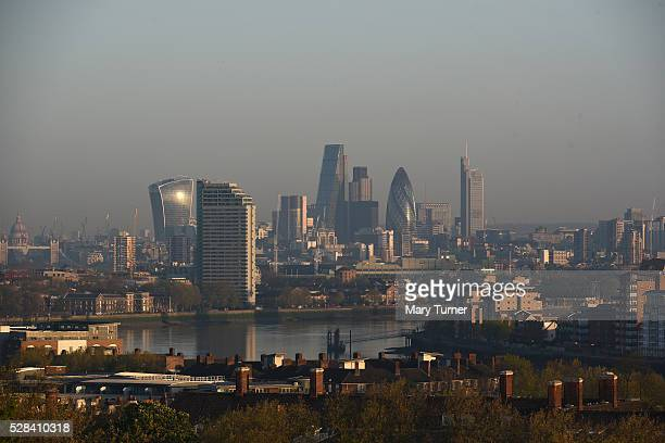 A haze of air pollution covers the London skyline in the early hours of the morning as London goes to the polls in its Mayoral elections with all the...
