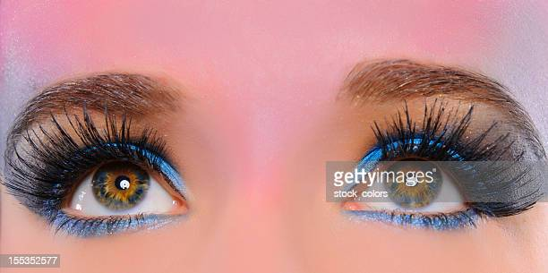 hazel and blue eyes macro - false eyelash stock pictures, royalty-free photos & images