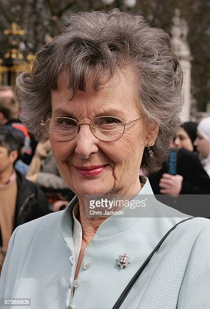 Hazel Birkett from Wymondham is seen before attending the Queen's 80th Birthday Lunch on April 19, 2006 at Buckingham Palace in London, England. TRH...