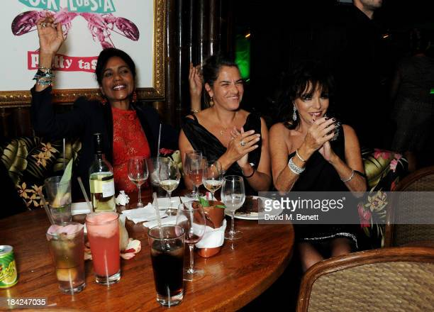 Hazel Collins Tracey Emin and Joan Collins attend a private dinner hosted by Joan Collins at Mahiki on October 12 2013 in London England