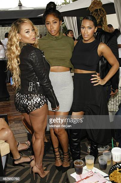 Hazel E April Jones and Nia Riley attend House Of CB House Of Tre Li Pre Grammy Party on February 7 2015 in Los Angeles California