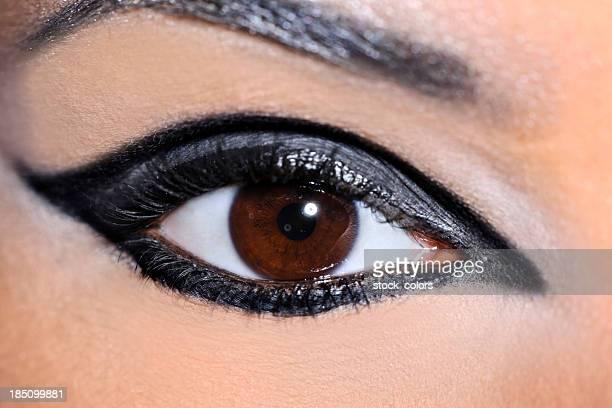 hazel eye macro - eye liner stock pictures, royalty-free photos & images