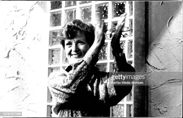 Hazel Hawke wife of Prime Minister Bob Hawke compares the Ray Martin show at the Channel 9 studios yesterday August 29 1985