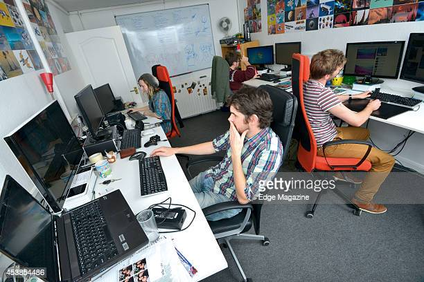 Hazel McKendrick, David Ream, Grant Duncan and Sean Murray of English video games developer Hello Games photographed at their studio in Guildford, on...