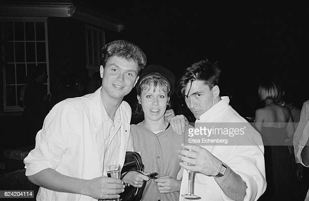 Hazel O'Connor with Gary Kemp and John Keeble of Spandau Ballet at a party at Stocks House Hertfordshire 1984