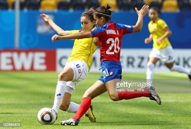 Hazel Quiros of Costa Rica and Yorely Rincon of Colombia compete for the ball during the 2010 FIFA Women's World Cup Group C match between Costa Rica...