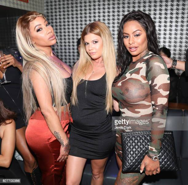 HazelE Chanel West Coast and Alexis Skyy attend Moula Mondays Hosted By Hazel E And Alexis Skyy at The Diamond District on August 7 2017 in Los...