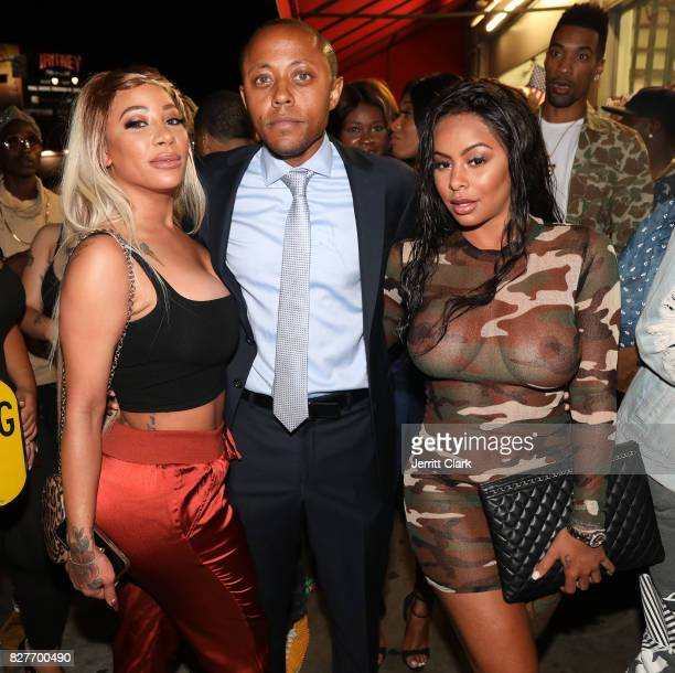 HazelE Walter Mosley and Alexis Skyy attend Moula Mondays Hosted By Hazel E And Alexis Skyy at The Diamond District on August 7 2017 in Los Angeles...