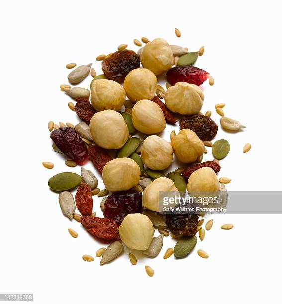 Hazelnuts and a selection of dried fruit and seeds
