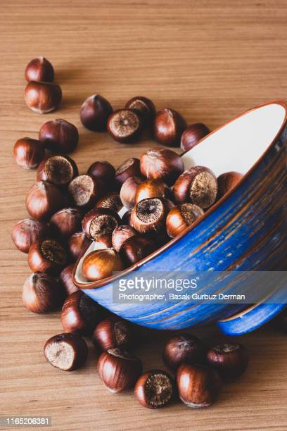 hazelnuts in a blue and brown vintage bowl on wooden table - basak gurbuz derman stock photos and pictures