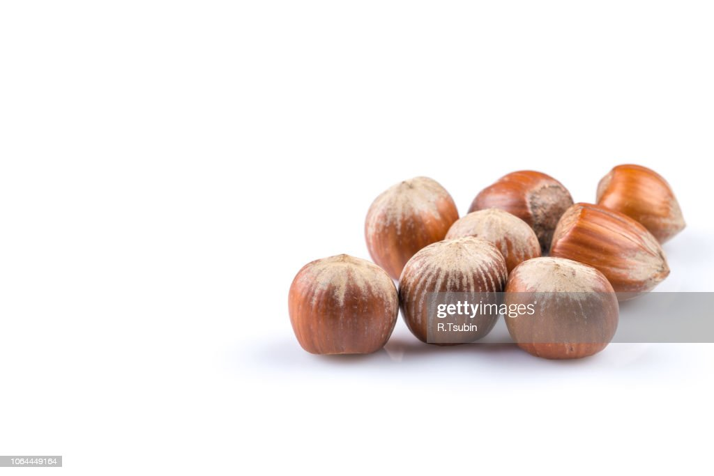 Hazelnuts Nuts Filberts Isolated On White Background Stock