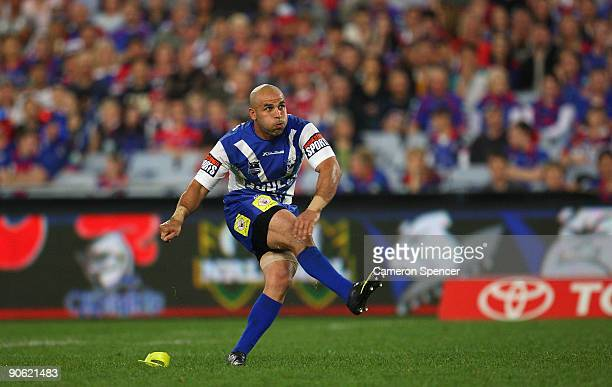 Hazem El Masri of the Bulldogs kicks a goal during the third NRL qualifying final match between the Bulldogs and the Newcastle Knights at ANZ Stadium...