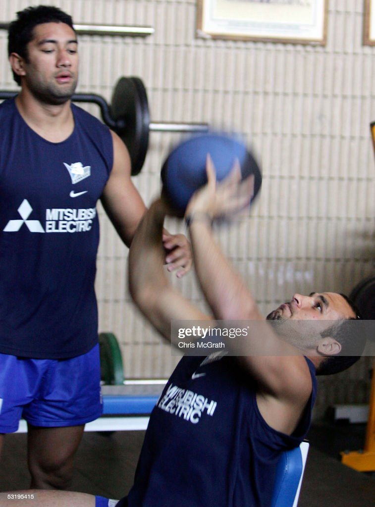 Hazem El Masri throws a medicine ball during the Bulldogs weights session held at Belmore Sportsground July 5, 2005 in Sydney, Australia