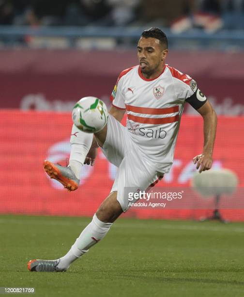Hazem Emam of Zamalek in action during the CAF Super Cup Final between Egypt's Zamalek and Tunisia's Esperance at Thani Bin Jassim Stadium in Doha...