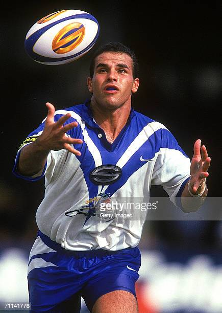 Hazen El Masri of the Bulldogs catches the ball during a Super League match between the Canterbury Bulldogs and the Canberra Raiders at Belmore...