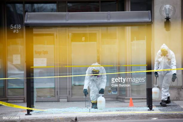 Hazmat workers work around the scene at Yonge St on April 24 2018 in Toronto Canada A suspect identified as Alek Minassian is in custody after a...