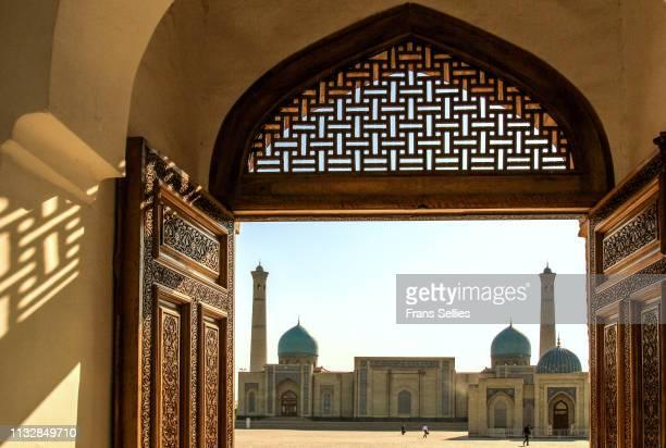 hazrat imam mosque and koran museum in tashkent, uzbekistan - frans sellies stockfoto's en -beelden