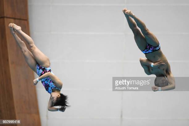 Hazuki Miyamoto and Reo Nishida of Japan compete in the Mixed 3m Synchro Springboard final during day three of the FINA Diving World Series Fuji at...