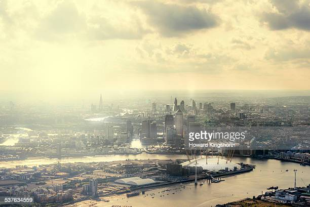 hazy aerial of London city