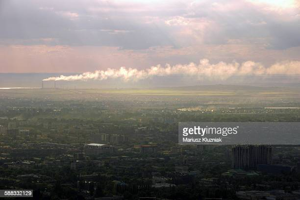 Hazy Almaty sunset