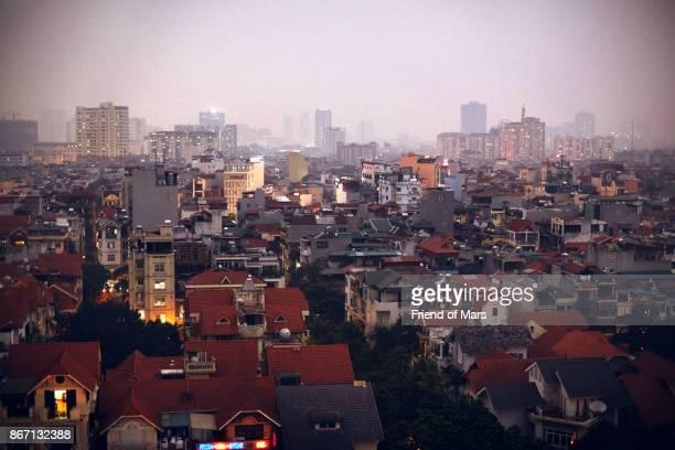 Hazy evening view of houses in Hanoi