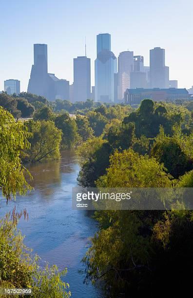Ligeiramente Turvo Houston Skyline de manhã