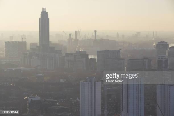 Hazy London skyline, London, England, UK